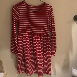 Lands End red girl's long sleeve dress w/pockets